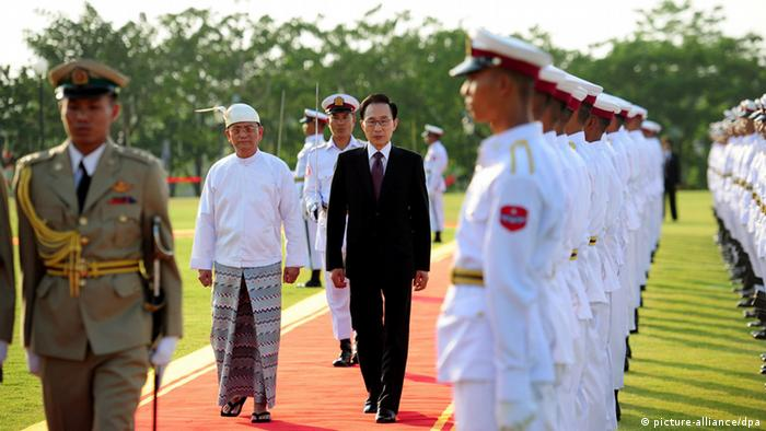 Lee Myung-Bak und Thein Sein in Naypyitaw, Myanmar (Foto: picture-alliance/dpa)