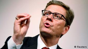German Foreign Minister Guido Westerwelle speaking at a summit