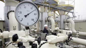 A natural gas meter shows levels in a gas storage facility in Germany.