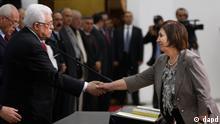 محمود عباس در مراسم ادای سوگند وزرای کابینه جدید