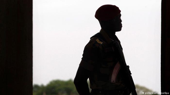 Guinean-Bissau soldier patrols at the International Airport of Bissau