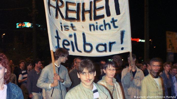 Демонстрация в Лейпциге. Октябрь 1989 года.