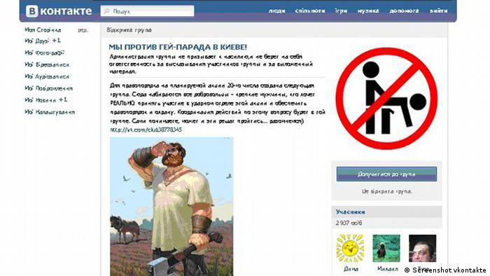 Screenshot of anti-gay propaganda on Russian social networking site VK