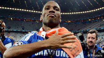 Didier Drogba of Chelsea celebrates after the Champions League final