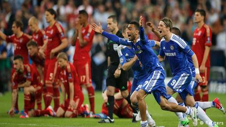 Chelsea players celebrate after the decisive penalty shootout during their Champions League final soccer match against Bayern Munich at the Allianz Arena in Munich. REUTERS NEWS