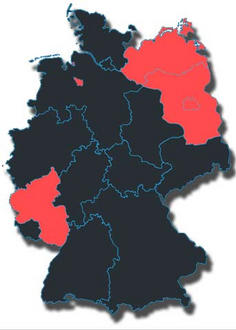 Deutschlandkarte mit den einzelnen Bundesländern Rot: SPD-geführt Schwarz: unionsgeführt Das schwarze Deutschland