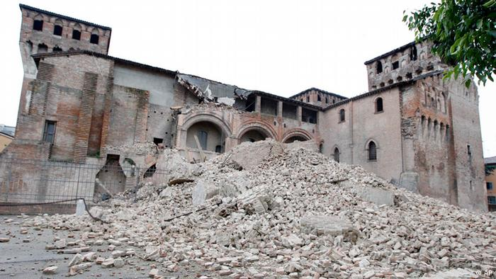 The crumbling wreck of the Rocca Estense in Finale Emilia