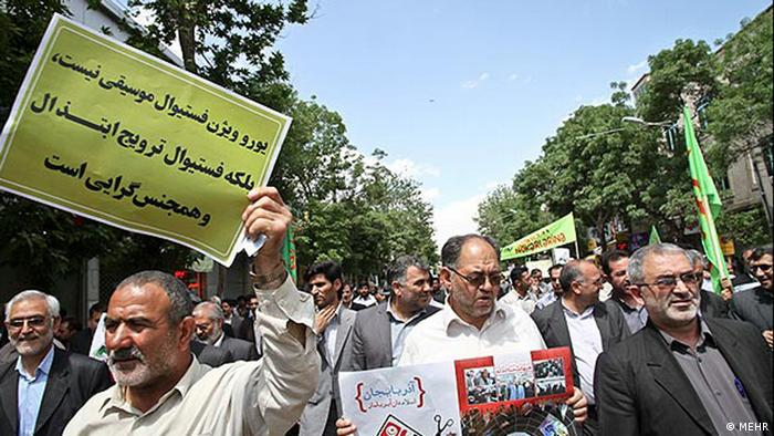 Demonstration in Iran against the Eurovision song contest