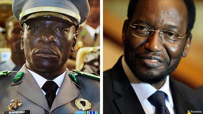 Portraits of coup leader Sanogo and interim president Traore REUTERS/Malin Palm