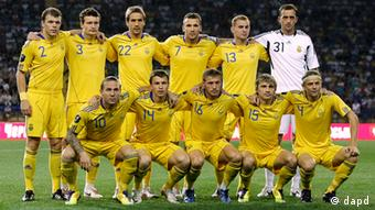 Ukraine's soccer team poses for a photo prior to a friendly match against Sweden in Kharkiv