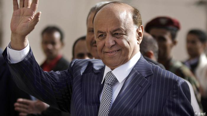 Yemen's Vice President Abed Rabbo Mansour Hadi gestures as he enters a polling center to cast his vote in Sanaa, Yemen, Tuesday, Feb. 21, 2011. Yemenis are voting to rubber-stamp their U.S.-backed vice president as the new head of state tasked with steering the country out of a crisis that followed the year-old anti-government uprising. The vote can hardly be called an election since Hadi is the only candidate. (Foto:Hani Mohammed/AP/dapd)