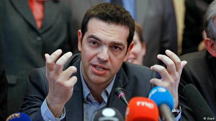 Greece's Left Coalition party leader Alexis Tsipras, addresses reporters during a press conference