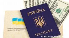 Ukrainian passport and money over white © Alexandr Blinov #36720756