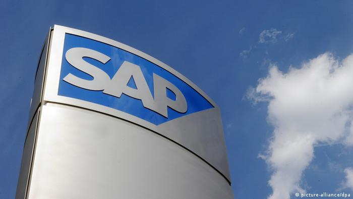 SAP logo on office building in Walldorf, Germany