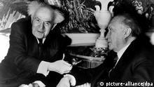 دیدار کنراد آدناوئر، صدراعظم آلمان (راست) و داوید بن گوریون اولین نخستوزیر اسرائیل در سال ۱۹۶۰ در نیویورک