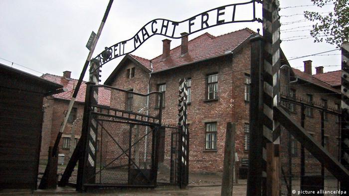 The gate at Auschwitz with the words 'Arbeit Macht Frei'