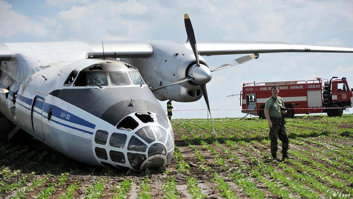 A Russian military aircraft that crash landed in the Czech Republic