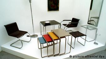 Steel pipe furniture designed by Marcel Breuer and Ludwig Mies van der Rohe