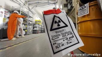 A nuclear radiation warning sign in a nuclear power plant Photo: Uwe Zucchi dpa/lnw