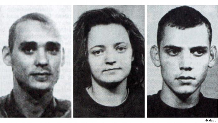 Black and white photo showing alleged NSU members Mundlos, Zschäpe and Böhnhardt