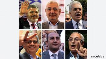 epa03230333 A combo of photographs depicting some of the main contenders in the first Egyptian presidential elections since the ouster of President Mubarak in January 2011, shows (Top-L to R) Mohammed Morsy, Abdel Moneim Abu al-Fatuh, Hamdeen Sabahi and (Bottom-L to R) Amr Moussa, Khaled Ali and Ahmed Shafik, Egypt, 22 May 2012. The first round of the presidential elections vote in Egypt is due to take place on 23 and 24 May. There are 13 candidates in total, five of which are said to be in the best positions for either a first round victory or a presence in the run-off of 16 and 17 June. EPA/AMEL PAIN/KHALED ELFIQI +++(c) dpa - Bildfunk+++