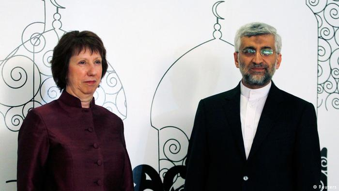 European Union foreign policy chief Catherine Ashton (L) and Iran's chief negotiator Saeed Jalili