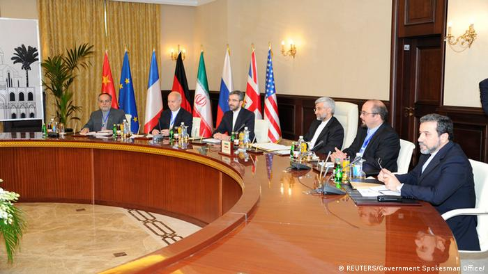 Iran's chief negotiator Saeed Jalili (3rd R) and his delegation attend a meeting with representatives of the U.S., Russia, China, Germany, France and Britain in Baghdad May 23, 2012. World powers began talks with Iran on Wednesday to test its readiness under pressure of sanctions to scale back its nuclear programme, seeking to ease a decade-old standoff and avert the threat of a Middle East war. REUTERS/Government Spokesman Office/Handout (IRAQ - Tags: POLITICS ENERGY) FOR EDITORIAL USE ONLY. NOT FOR SALE FOR MARKETING OR ADVERTISING CAMPAIGNS. THIS IMAGE HAS BEEN SUPPLIED BY A THIRD PARTY. IT IS DISTRIBUTED, EXACTLY AS RECEIVED BY REUTERS, AS A SERVICE TO CLIENTS