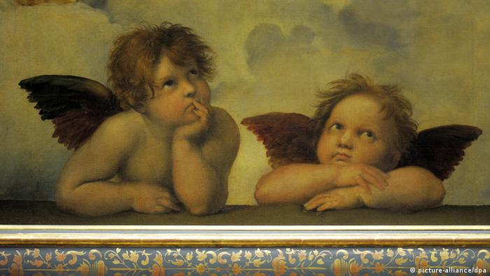 two winged angels in a Raphael painting