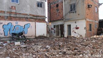 demolished houses and rubble