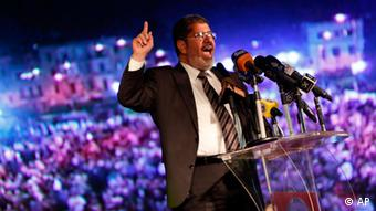 Muslim Brotherhood candidate Mohammed Morsi giving a speech