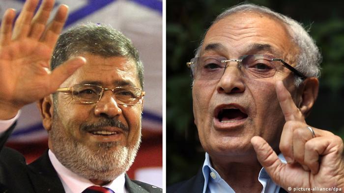 Muslim Brotherhood candidate Mohammed Mursi (left) and former Mubarak PM Ahmed Shafiq (right)
