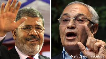 Muslim Brotherhood candidate Mohammed Mursi (left) and Mubarak prime minister Ahmed Shafiq (right).