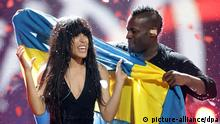 Loreen representing Sweden celebrates after winning the Grand Final of the Eurovision Song Contest 2012 in Baku, Azerbaijan, 26 May 2012. There are 26 finalists from as many countries competing in the the 57th Eurovision Song Contest. Photo: Joerg Carstensen +++(c) dpa - Bildfunk+++