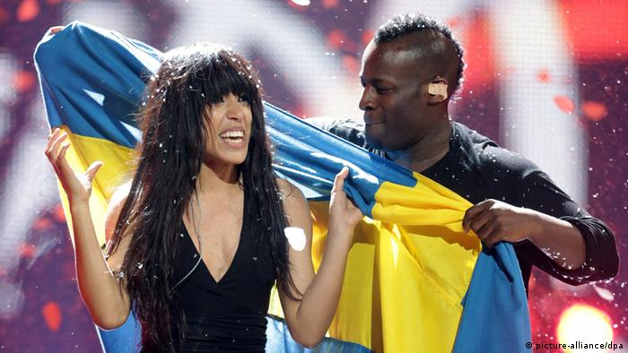 Loreen representing Sweden celebrates after winning the Grand Final of the Eurovision Song Contest 2012