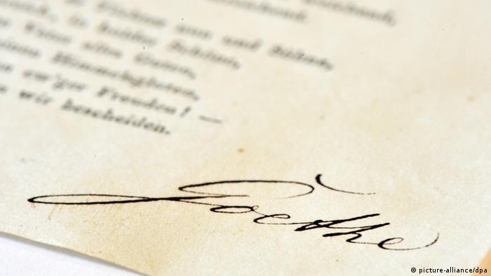 امضای یوهان وولفگانگ فن گوته، شاعر مشهور آلمانی