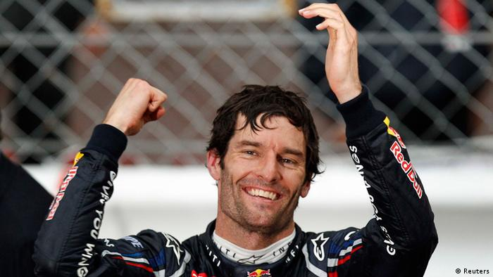 Red Bull Formula One driver Mark Webber of Australia celebrates after winning the Monaco F1 Grand Prix May 27, 2012. REUTERS/Max Rossi (MONACO - Tags: SPORT MOTORSPORT)