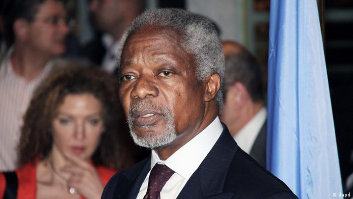 UN-Arab League Joint Special Envoy for Syria (JSE) Kofi Annan, speaks during a press conference after his arrival in Damascus, Syria, Monday, May 28, 2012. Annan, arrived in Damascus on Monday for talks with Syrian President Bashar Al-Assad. (Foto:Bassem Tellawi/AP/dapd).