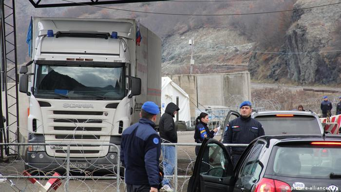 A truck with humanitarian aid from Russia at the administrative border between Kosovo and Serbia. pixel