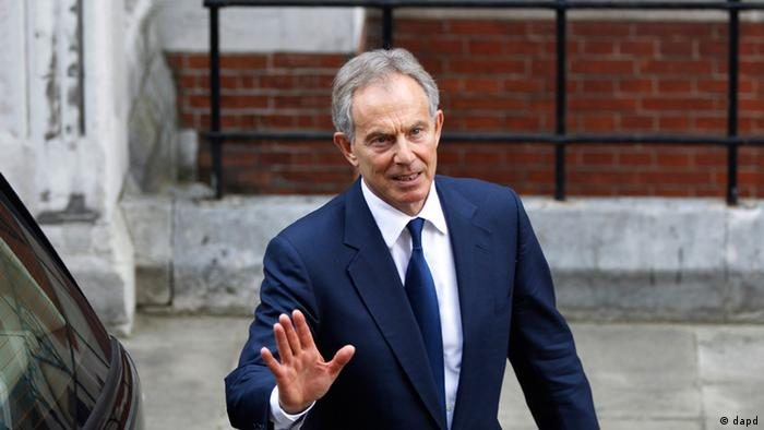 Former British Prime Minister Tony Blair leaves the High Court in London Monday, May 28, 2012