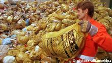 Ein Mitarbeiter in der Jakob Becker Entsorgungs GmbH in Worms stapelt am 16. Juni 1993 gelbe Säcke mit Kunststoff-Abfällen auf eine riesige Halde. In der Firma können Abfallstoffe aus Kunststoffen und Verbundstoffen durch ein neuartiges Verfahren recycelt werden. 1993 werden vielerorts im Bundesgebiet die sogenannten gelben Säcke oder Mülltonnen mit gelben Deckel ausgegeben, in denen die Bürger im Rahmen des Dualen Systems Verpackungsmüll mit dem Grünen Punkt sammeln sollen. Zu den Kunststoff- Verbund- und Metallverpackungen zählen z.B. Joghurtbecher, Milch- und Safttüten, Dosen und Plastikflaschen. Die Sammlung von sogenanntem Wertmüll ist bundesweit heftig umstritten, da sie nicht zur Müllvermeidung beiträgt.