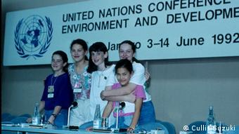 Four teenagers at the UN conference