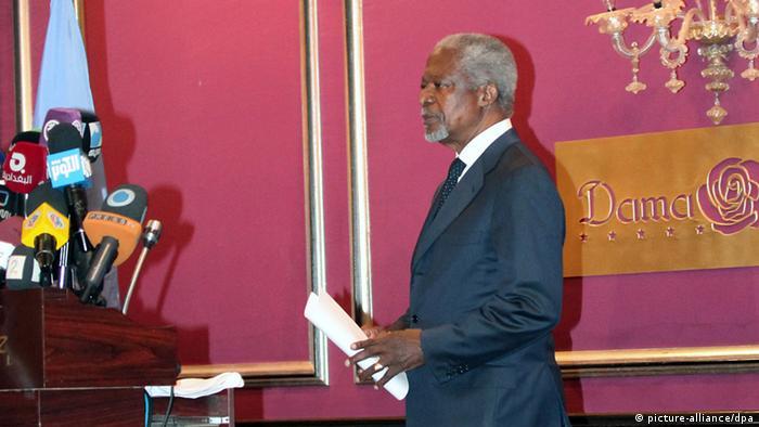 Koffi Annan katika Mkutano na waandishi wa Habari mjini Damascus.