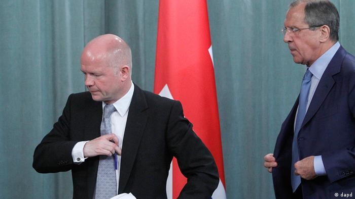 کشورهای غربی خواهان تغییر سیاست روسیه در قبال رژیم اسد هستند. دیدار ویلیام هیگ و سرگئی لاوروف، وزیران خارجه بریتانیا و روسیه