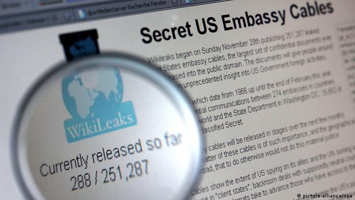 wikileaks and cables Foto: Oliver Berg dpa +++(c) dpa - Bildfunk+++