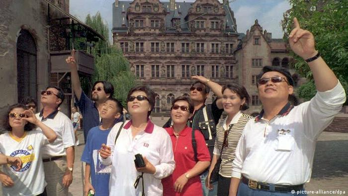 Korean tourists visit Heidelberg, Germany