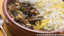 Iran Essen Gericht Lamm Biryani mit Basmati Reis und Löffel (Fotolia/Monkey Business)