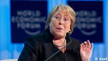 La presidenta de Chile, Michelle Bachelet, durante la reunión anual del Foro Económico Mundial en Davos en enero de 2012.