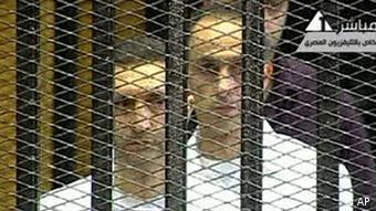Alaa and Gamal Mubarak in Cairo (Foto:Egyptian State TV/AP/dapd)