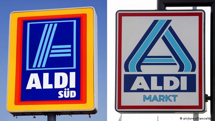 Schilder von Aldi Süd und Aldi Nord