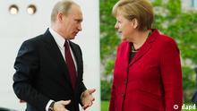 Berlin/ Bundeskanzlerin Angela Merkel (CDU) begruesst am Freitag (01.06.12) vor dem Kanzleramt in Berlin den russischen Praesidenten Wladimir Putin. Merkel empfing Putin zu einem Gespraech. Foto: Clemens Bilan/dapd